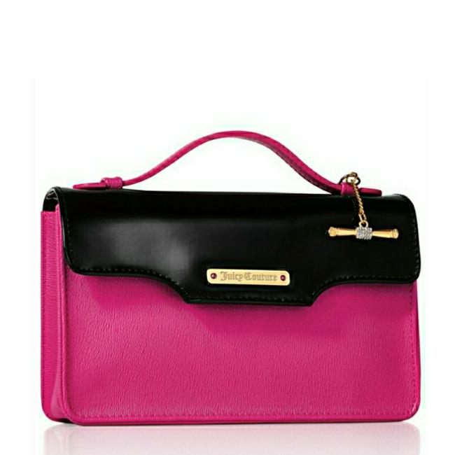 Item - Patent Flap Pink/Black Clutch