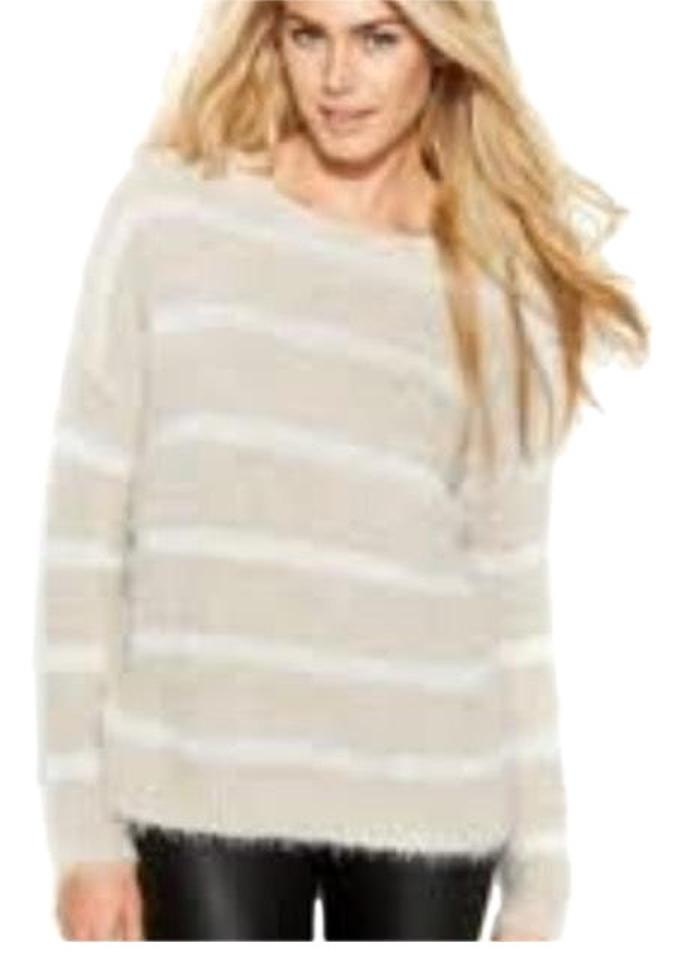 e0a4c4bf43b Calvin Klein Soft Striped Eyelash Knit Tan Sweater
