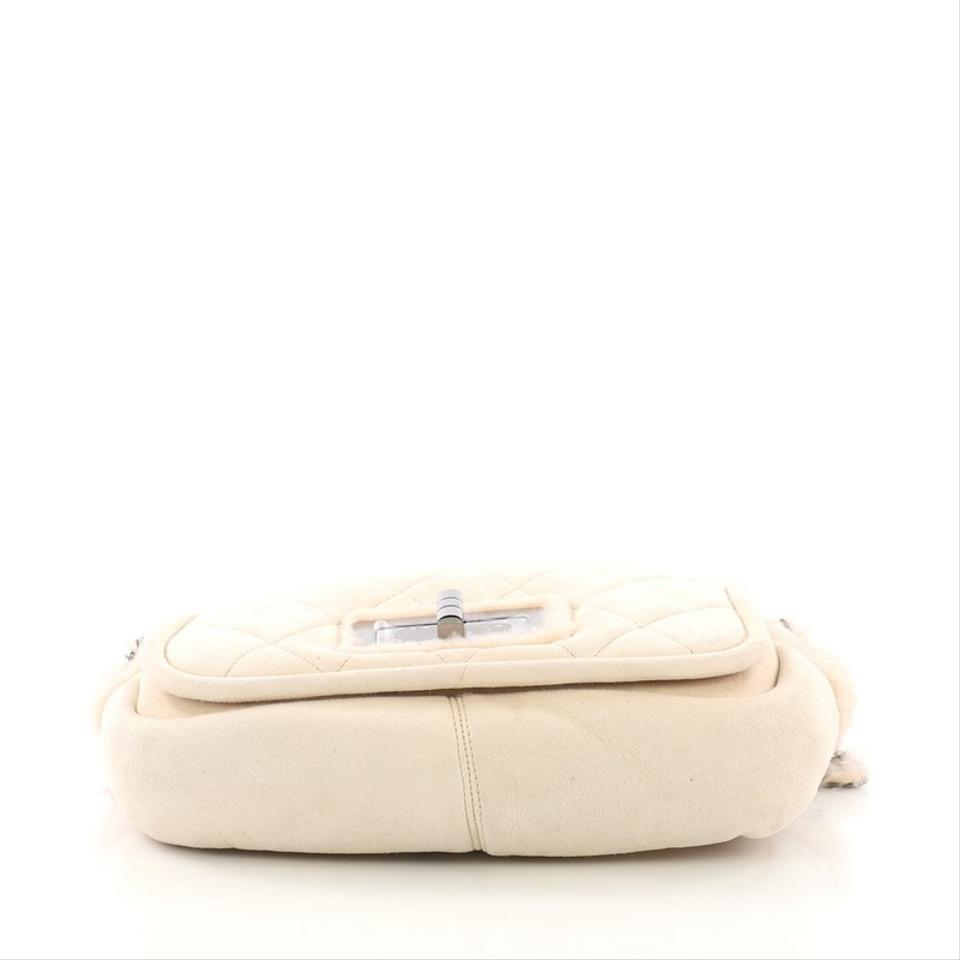 b0af843396d3e7 Chanel 2.55 Reissue Classic Flap Quilted and Shearling Small Beige Suede  Leather Shoulder Bag