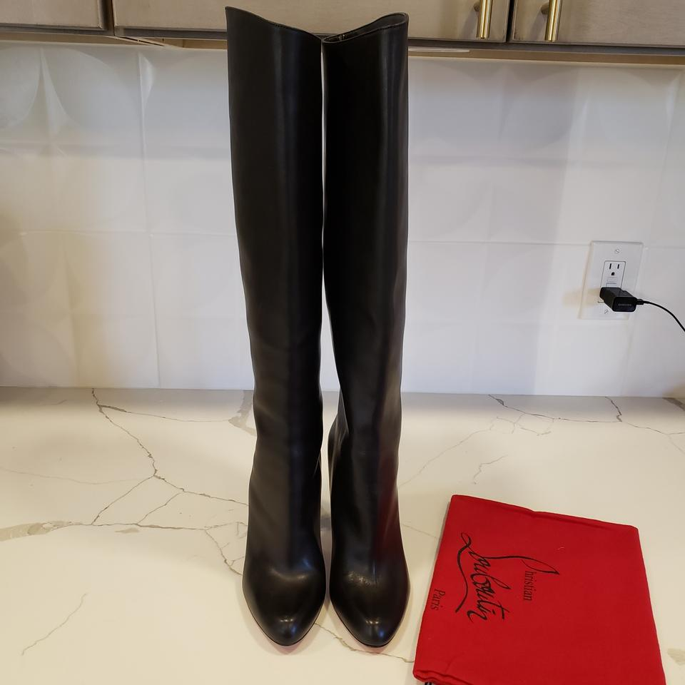 best loved e15dc ed115 Christian Louboutin Black Marmara Botta 100 Tall Leather Knee High  Boots/Booties Size EU 38 (Approx. US 8) Regular (M, B) 21% off retail