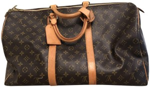 Louis Vuitton Monogram Soft Sided Luggage Brown Traditional LV Travel Bag