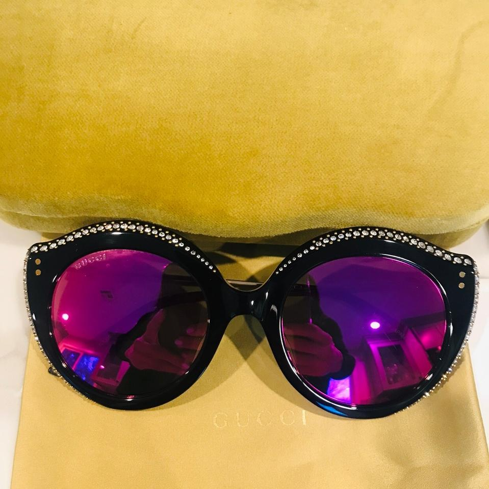 7f67fbb1d Gucci Black Frame & Green Pink Mirrored Lens Gg0214 002 Cat Eye ...