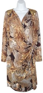 Cache short dress Paisley Sequin Knit Faux Wrap .stretch on Tradesy