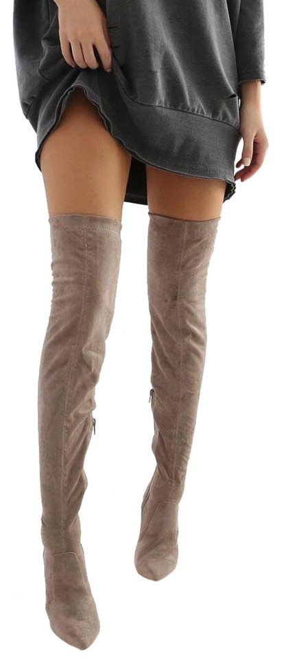 2f26ffd77e5 Public Desire Grey Over The Knee Faux Suede Boots Booties Size US 9 ...