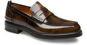 Bally Brown Mody Honey Brushed Leather Penny Loafers 10 Us 43 Swiss Shoes