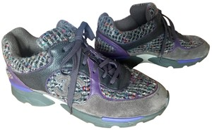 Chanel Sneakers Tweed Suede Multi Color Grey / Purple Athletic
