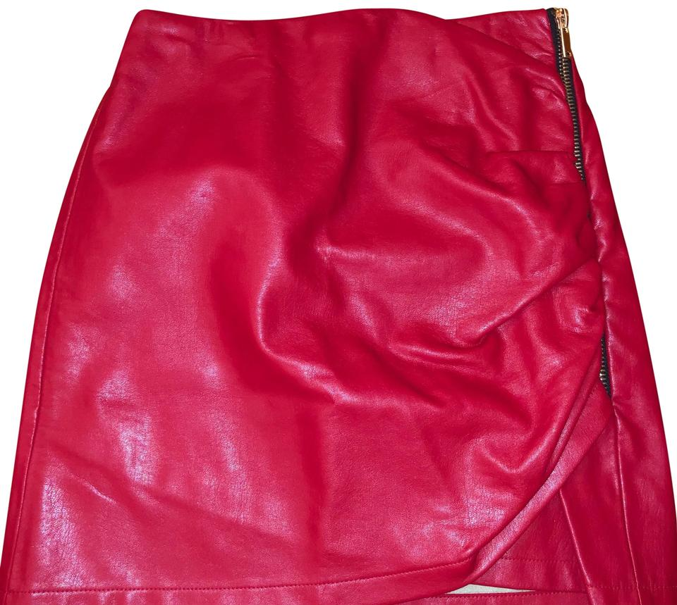 fe105f068 Faux Patent Leather Skirt Red – DACC