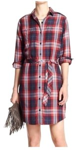 Banana Republic short dress Red Navy Belted Shirt Plaid Rolled Up Sleeve Long Sleeve on Tradesy
