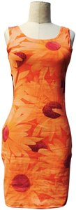 United Colors of Benetton short dress Floral orange/pink on Tradesy