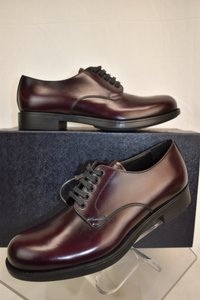 Prada Red Burgundy Cordovan Leather Lace Up Classic Derby 7 8 Italy Shoes