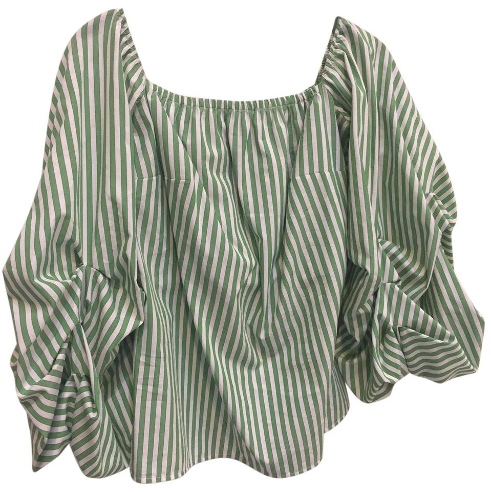 ccf0749f120eae Petersyn Off Shoulder Ruffled Sleeves Top green and white Image 0 ...