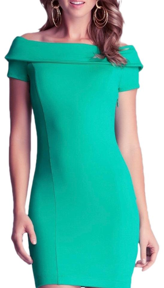 f8501282d5e2 bebe Green Off Shoulder Bodycon Short Cocktail Dress Size 0 (XS ...