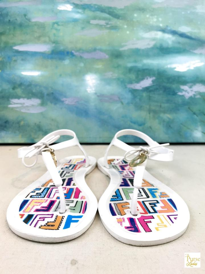 f2902f3d0306 Fendi White Rubber Sunny Jelly Logo Charm Flat T-strap Sale Sandals Size EU  37 (Approx. US 7) Regular (M