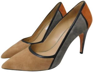 Diane von Furstenberg Color-blocking Patchwork Suede Muliti Pumps