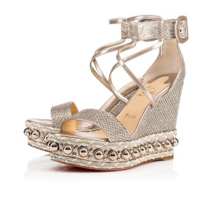 c18939107e96 Christian Louboutin Pigalle Stiletto Classic Galeria Studded gold Wedges