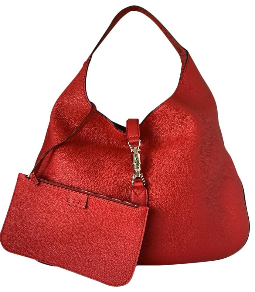 afcbba668f1df3 Gucci Jackie Soft Large Red Leather Hobo Bag - Tradesy