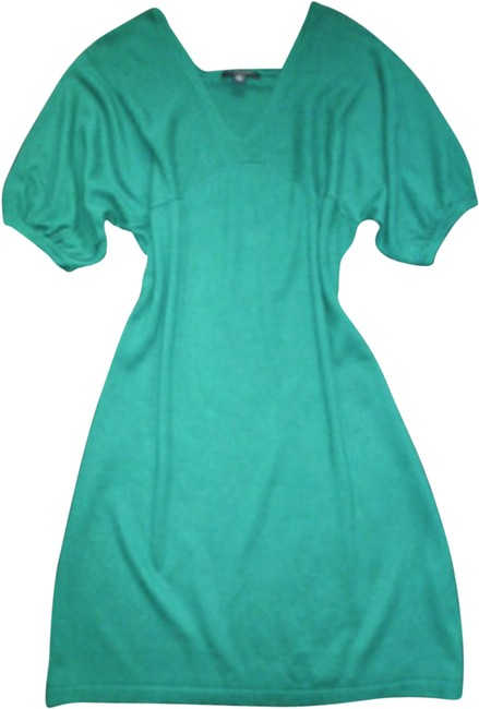 Item - Green Knitted Cashmere Emerald Tunic Sweater Short Casual Dress Size 10 (M)
