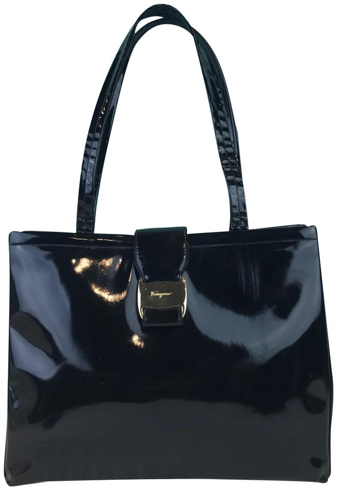 d5696d9d7e7 Salvatore Ferragamo Logo Buckle Sale Black Patent Leather Shoulder Bag 78%  off retail