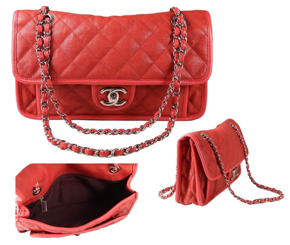 9364845f201781 Chanel Riviera French Medium Quilted Soft Red Caviar Leather Shoulder Bag