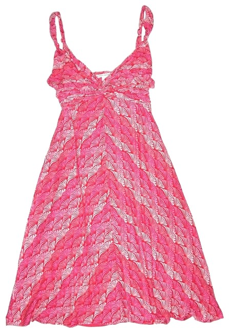 Item - Pink Twist Pattered Front Knit Mid-length Short Casual Dress Size 6 (S)