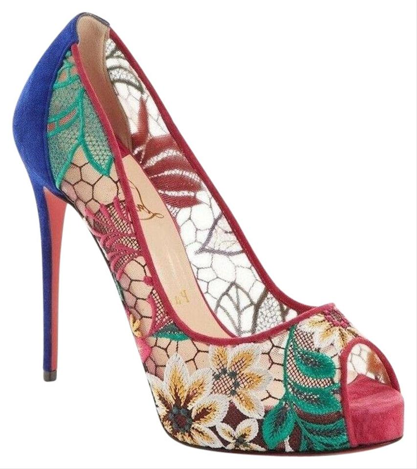 72d45def3d4 Christian Louboutin Multicolor Very Lace 120 Pink Multi Platform ...
