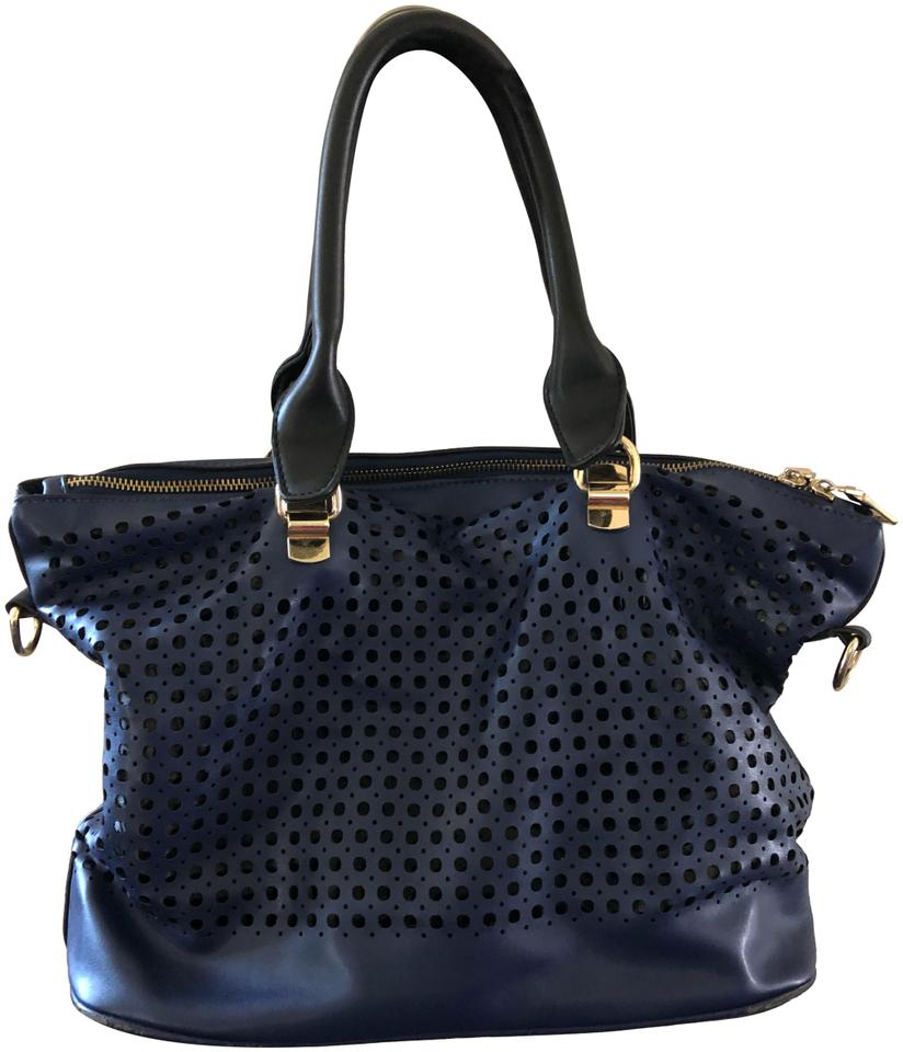 4ef08976a4e Steve Madden Two Toned with Punch Pattern Black and Blue Synthetic Cross  Body Bag