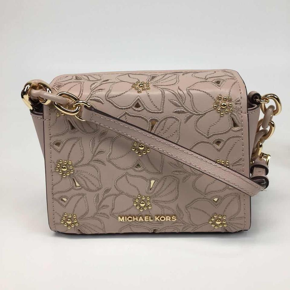 702fd79011 Michael Kors Sofia Small Perforated Floral Studded Ballet Pink Leather  Cross Body Bag
