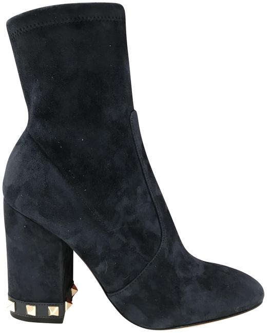 Item - Navy Rockstud Suede Studded Zippered Ankle Boots/Booties Size EU 35.5 (Approx. US 5.5) Regular (M, B)