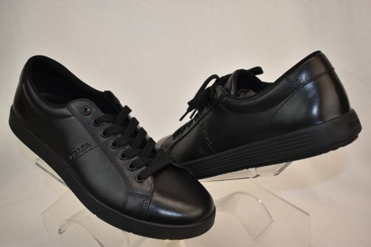 Prada Black Men's Nero Leather Lace Up Logo Sneakers 8 Us 9 Shoes