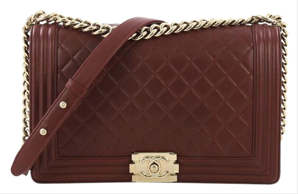 dff7c0ce3374 Chanel Classic Flap Boy Quilted New Medium Burgundy Lambskin Leather  Shoulder Bag