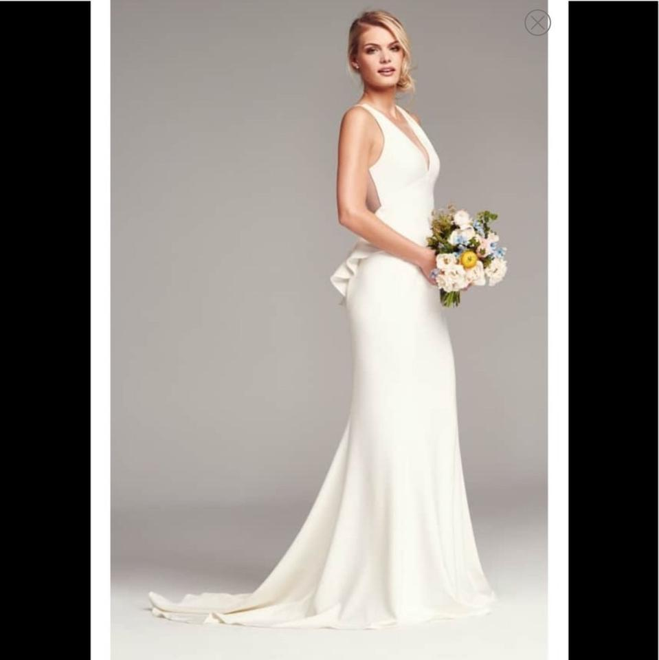 Crepe Wedding Gown: Amsale Ivory Crepe Demi Sheer Back Gown Formal Wedding