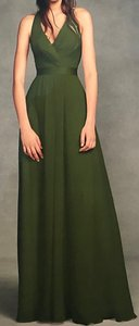 White by Vera Wang Vw Olive Green Saffron Chiffon Halter with Tulle Bow Formal Bridesmaid/Mob Dress Size 4 (S)