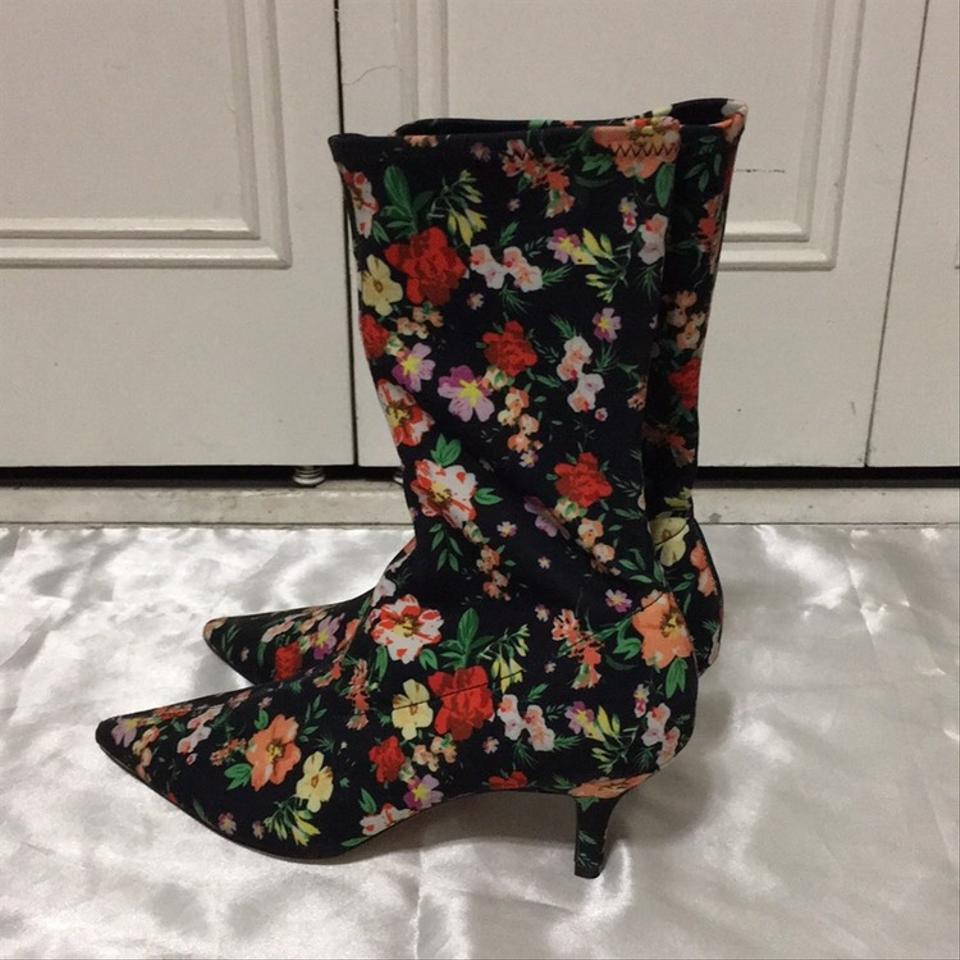 865083d5349 Steve Madden Black Multi Ramone Floral Sock Boots Booties Size US ...