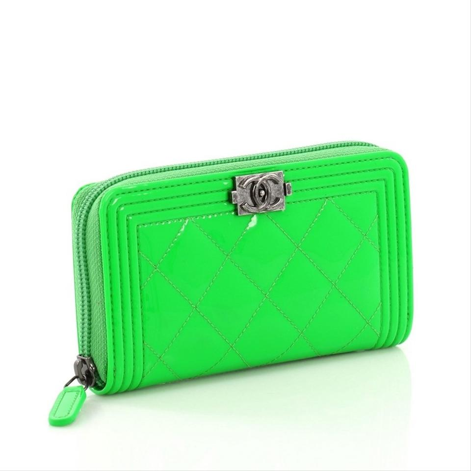 bfc9d01cb27f Chanel Boy Zip Around Wallet Quilted Small Neon Green Patent Leather ...