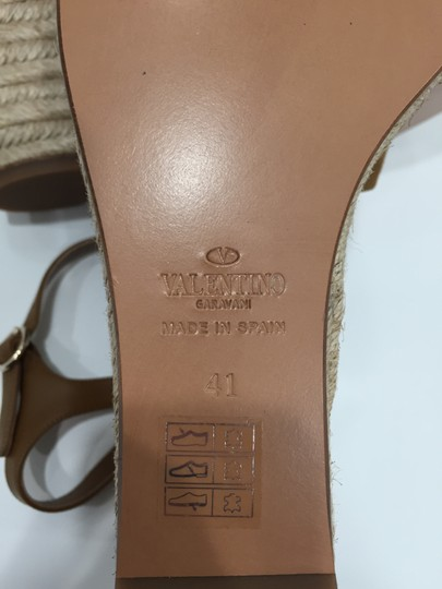 Valentino Rockstud Studded Ankle Strap Bow Cognac Wedges Image 9