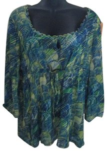 Axcess Leaf Nylon Stretch Spring Casual Top Multicolored