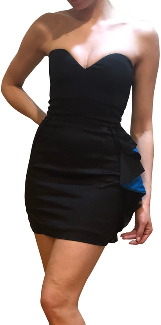 Item - Black with Blue Colorway Short Night Out Dress Size 0 (XS)