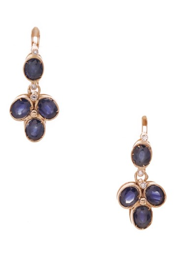 Fine Jewelry Vault Fine Jewelry Sapphire Diamond Earrings - Yellow Gold Image 0