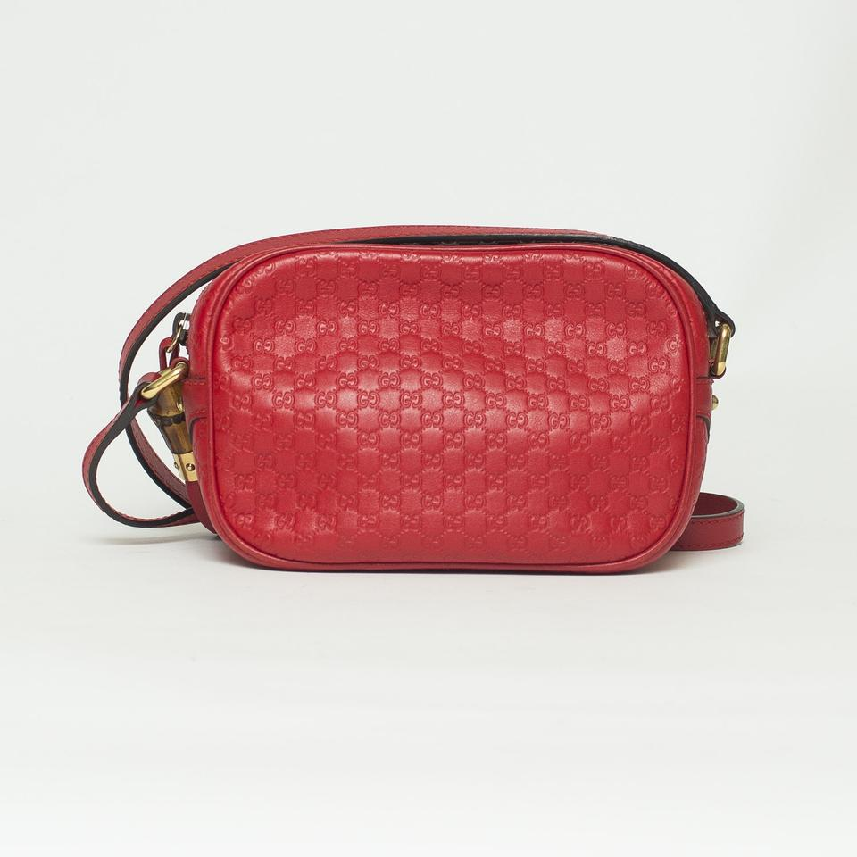 e09bfe57f Gucci Sunshine Monogram Micro Guccissima Disco Red Leather Cross Body Bag -  Tradesy