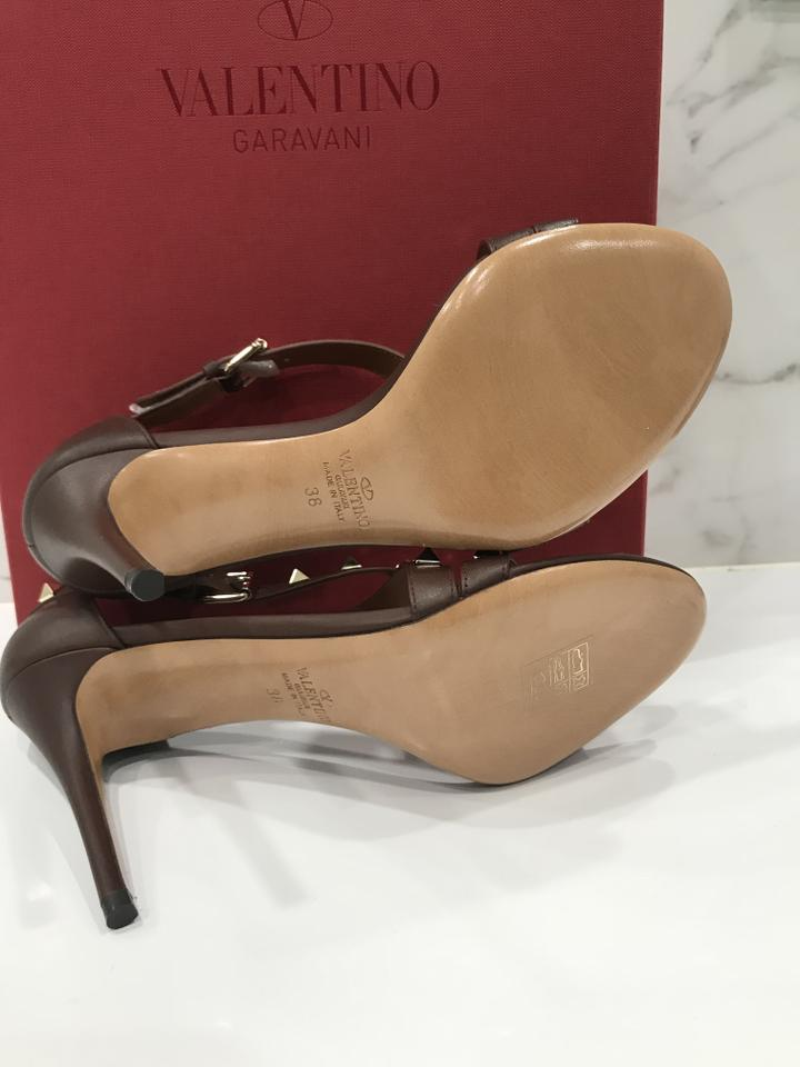 79e0b584cd8 Valentino Studded Ankle Strap Branded Insole Leather Round Toe Brown Pumps  Image 10. 1234567891011