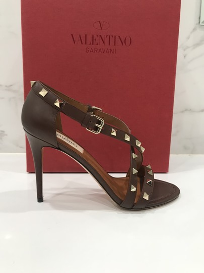 Valentino Studded Ankle Strap Branded Insole Leather Round Toe Brown Pumps Image 1