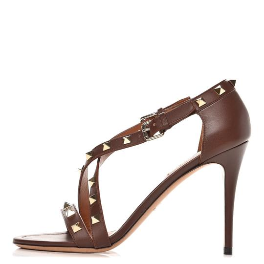 Valentino Studded Ankle Strap Branded Insole Leather Round Toe Brown Pumps Image 2