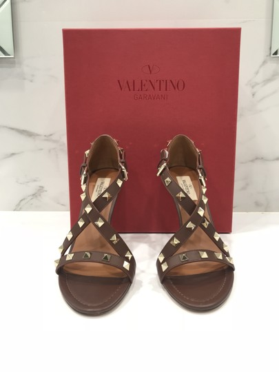 Valentino Studded Ankle Strap Branded Insole Leather Round Toe Brown Pumps Image 3