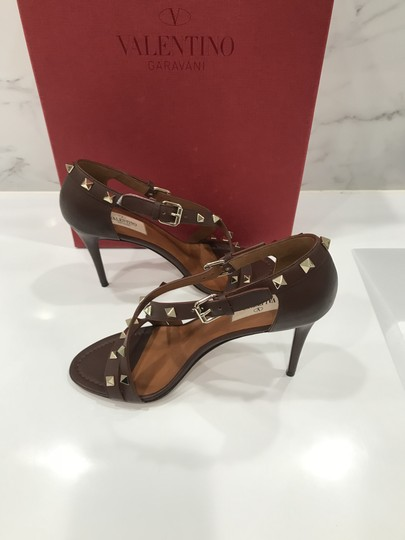 Valentino Studded Ankle Strap Branded Insole Leather Round Toe Brown Pumps Image 5