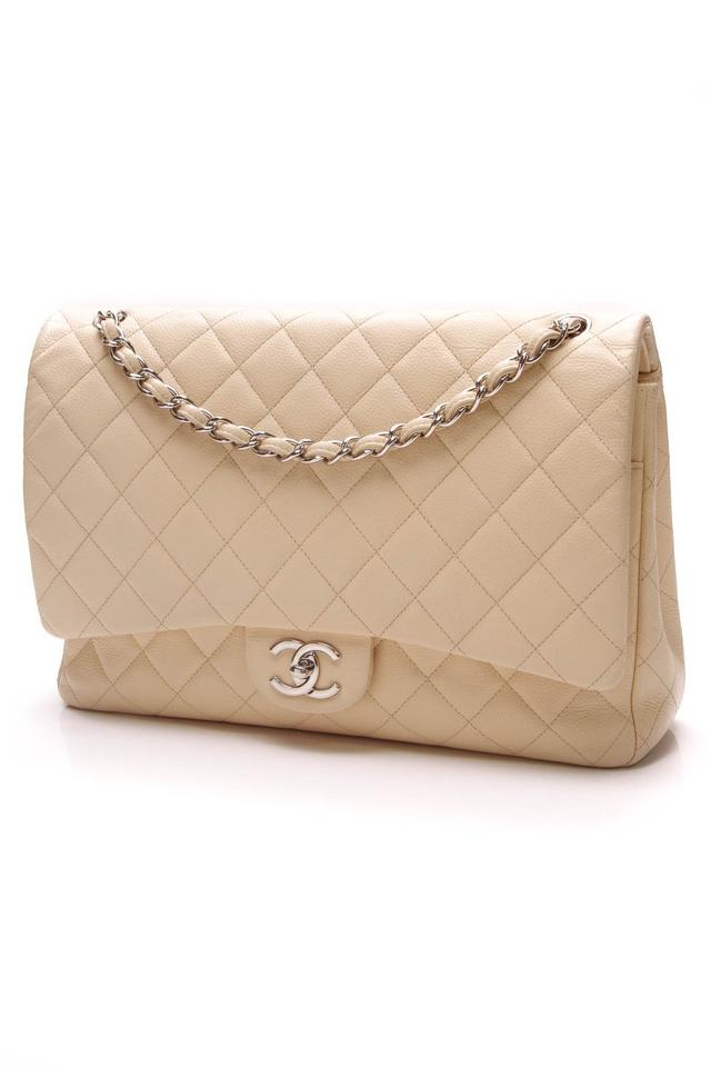 eb657a4b4947 Chanel Classic Flap Classic Double - Maxi Caviar Beige Leather Shoulder Bag