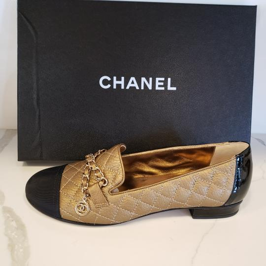 Chanel Loafers Moccasin Chain Deerskin Bronze/Black Flats Image 10