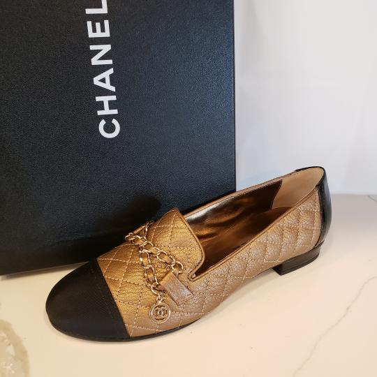 Chanel Loafers Moccasin Chain Deerskin Bronze/Black Flats Image 11