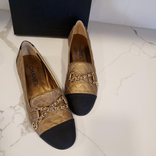 Chanel Loafers Moccasin Chain Deerskin Bronze/Black Flats Image 5