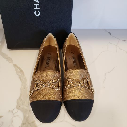 Chanel Loafers Moccasin Chain Deerskin Bronze/Black Flats Image 6