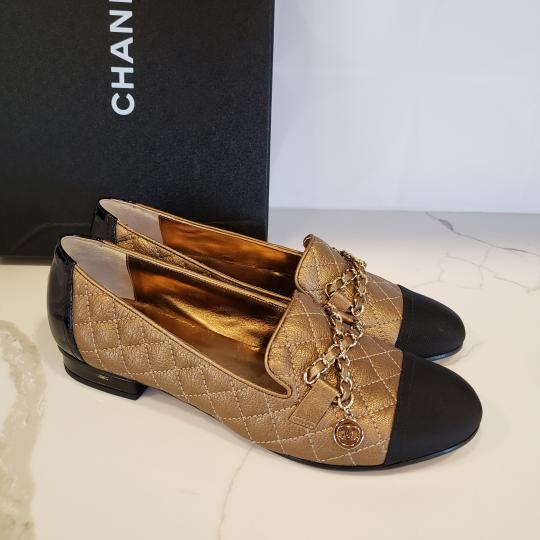 Chanel Loafers Moccasin Chain Deerskin Bronze/Black Flats Image 7